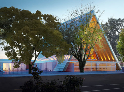 At night, the light from inside the Diocese of Christchurch's Transitional Cathedral will make the building appear to glow through the polycarbonate roof from the gaps between the cardboard tubes. Photo/Christchurch Cathedral
