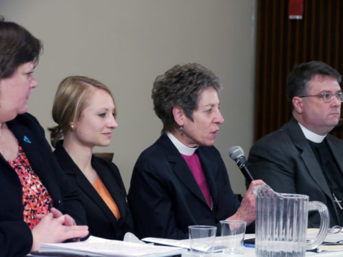 Lynnaia Main, the church's officer for global relations, Sarah Dreier, the church's Office of Government Relations legislative representative for international policy and advocacy, Presiding Bishop Katharine Jefferts Schori and the Rev. Brian McVey of the Diocese of Iowa, during an during an hour-long, churchwide conversation on human trafficking March 6. Photo/ENS