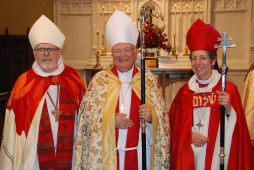 From left, bishops Ed Leidel, William Jay Lambert, and Presiding Bishop Katharine Jefferts Schori following the ordination service on March 16. Photo: Richard Schori