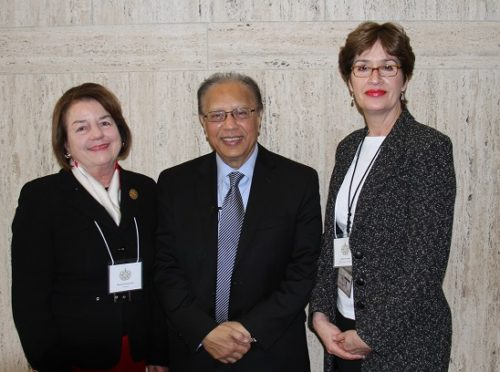 From left to right: Marnie Dawson Carr, Ambassador Chowdhury and ACOUN's Rachel Chardon. Photo: ACNS