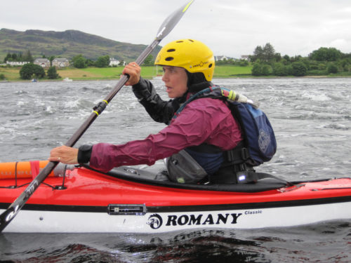 the Rev. Bonnie Perry, rector of All Saints, Chicago, kayaking at the Falls of Lora, Oban, Argyll, Scotland.