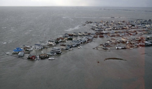 The results of the storm surge from Hurricane Sandy can be seen in a swamped Tuckerton, New Jersey. Photo/U.S. Coast Guard