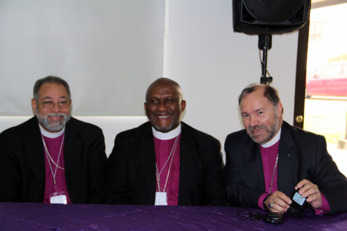 Dominican of Republic Bishop Julio Cesar Holguín, Honduras Bishop Lloyd Allen and Colombia Bishop Francisco Duque-Gómez, during a May 9 panel on self-sustainability. Photo: Lynette Wilson/Episcopal News Service