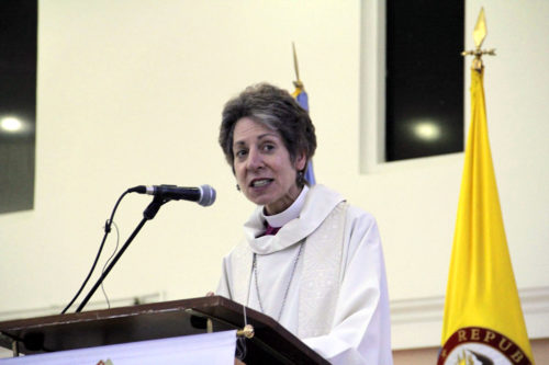 Presiding Bishop Katharine Jefferts Schori preaches during the closing Eucharist of the 18th annual Global Episcopal Mission Conference. Photo: Lynette Wilson/Episcopal News Service