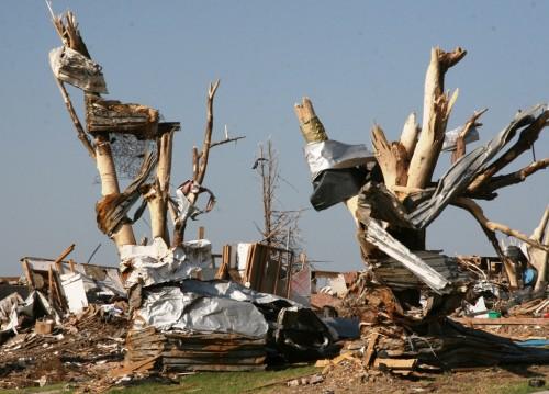 El tornado de EF-5 que azotó Joplin, Misurí, el 22 de mayo de 2011, dejó estos árboles desnudos al lado este de la secundaria del lugar, donde recogen escombros de la escuela seriamente dañada. Foto de John Daves/Cuerpo de Ingenieros del Ejército de EE.UU., Distrito de Kansas City.