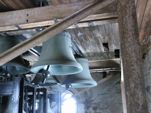 Every carillon is different, from the size and number of bells to the tower where they play. These are among the 49 bells composing the 18-ton carillon at St. Peter's Episcopal Church in Morristown, New Jersey. Photo: Sharon Sheridan