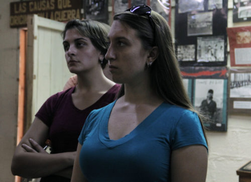 Audrey Cleaver-Bartholomew, foreground, and Pilar Padrón during a visit to the Museum of the Salvadoran Revolution. Photo: Lynette Wilson/Episcopal News Service