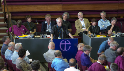 Archbishop of Canterbury Justin Welby addresses the Church of England's General Synod, meeting in York July 8, during a debate on the next steps towards enabling women to become bishops. (C) Keith Blundy / Aegies Associates
