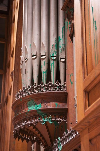 Green paint splashed by a vandal some time on the afternoon of July 29 is visible on parts of the organ in Washington National Cathedral's Bethlehem Chapel. Photo: Washington National Cathedral