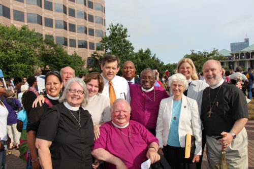 The Episcopal Diocese of North Carolina's bishops and some of its clergy and laity participate in a Moral Monday rally. Photo/Summerlee Walter/Episcopal Diocese of North Carolina