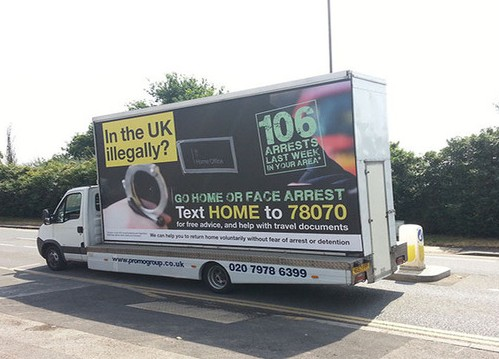 """The British government's the Ministry of Home Affairs' controversial """"go home"""" bus and van campaign has drawn criticism. Photo: www.gov.uk"""
