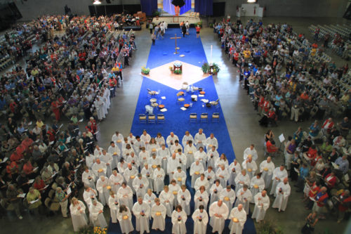 Participants in the Evangelical Lutheran Church in America's 2013 Churchwide Assembly gather in the David L. Lawrence Convention Center August 14 for Eucharist. Photo: ELCA News Service