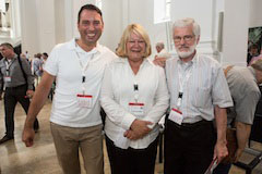 Larson-Miller with Prof. Dr. Martin Stuflesser, Societas Liturgica president-elect (left) and Gordon Lathrop, Societas Liturgica past president (right), in Würzburg