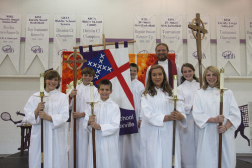 Episcopal School of Knoxville students serve as acolytes for the ordination service. Front Row (L-R) Alex Carter, Parker Jones, McLean Stooksberry, Hallie Longest, Back Row (L-R) Andrew Natter, Zach Stivers, Josh Hill, Addison Jones.