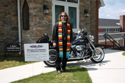 Biker priest the Rev. Steve McCarty, vicar at St. Andrew's Church in Clear Springs, Maryland.