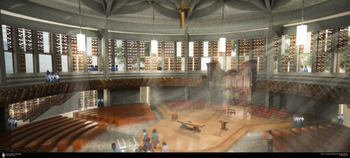 More than 1,200 worshippers would sit in a circular fashion around and above a central altar platform, with the new altar positioned in the exact location of the previous altar of the previous cathedral. Artist rendering: Kerns Group Architects