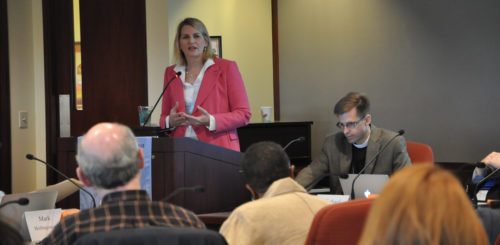 Task Force for Re-imagining the Episcopal Church Co-convener Katy George gives an update on the group's work Oct. 15 to members of Executive Council meeting in Chicago. The Rev. Dwight Zscheile, TREC member, also participated in the briefing and discussion with council. Photo: Mary Frances Schjonberg, Episcopal News Service