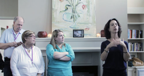 Magdalene Executive Director Cary Rayson, right, led a visit to Lena House, one of Magdalene's four residences. Photo: Lynette Wilson/Episcopal News Service