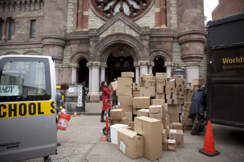 Volunteers unload donated material at the Church of St. Luke and St. Matthew in Brooklyn, New York shortly after Hurricane Sandy. Photo: Church of St. Luke and St. Matthew