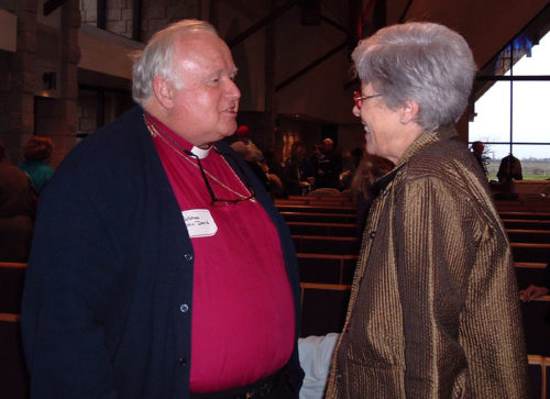 Retired Bishop John-David Schofield, who was then bishop of the Episcopal Diocese of San Joaquin and then-House of Deputies President Bonnie Anderson talk Feb. 10, 2007, after the end of an all-day meeting of Episcopalians in Lodi, California. The meeting occurred 10 months before Schofield and a majority of the diocese's congregations voted in December 2007 to realign with the Argentina-based Anglican Province of the Southern Cone. Photo: Mary Frances Schjonberg, Episcopal News Service