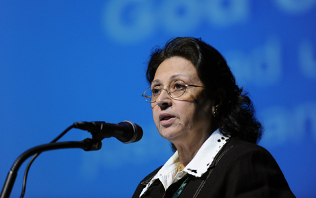 Wedad Abbas Tawfik tells WCC delegates about the situation for Christians in Egypt. Photo: Peter Williams/WCC