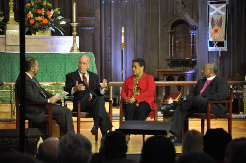 Former Mississippi Governor William F. Winter responds to a question from State of Racism moderator Ray Suarez. Also participating this first panel discussion are Myrlie Evers-Williams, the widow of slain civil-rights leader Medgar Evers, and Diocese of North Carolina Bishop Michael Curry. Photo: Mary Frances Schjonberg/Episcopal News Service