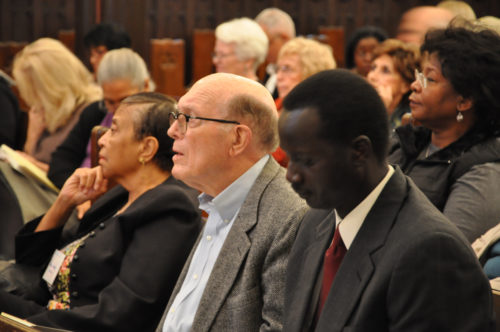 """The Rt. Rev. Duncan Gray Jr., the seventh bishop of Mississippi, son of the fifth bishop of Mississippi and father of current diocesan Bishop Duncan Gary III, listens to a presentation Nov. 16 on the second day of the """"Fifty Years Later: The State of Racism in America"""" gathering at the Diocese of Mississippi's St. Andrew's Episcopal Cathedral in downtown Jackson. Photo: Mary Frances Schjonberg/Episcopal News Service"""