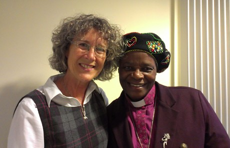 Bishop Ellinah Wamukoya (r) with the Anglican Communion Office's Women's Desk Officer and Anglican Communion Networks Coordinator the Rev. Terrie Robinson. Photo: ACNS
