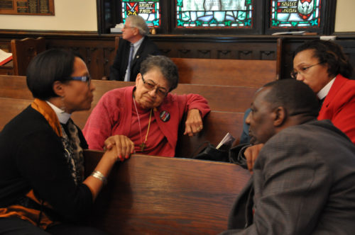 """Four participants talk about what they have learned during the Nov. 15-16 """"Fifty Years Later: The State of Racism in America"""" gathering at the Diocese of Mississippi's St. Andrew's Episcopal Cathedral in downtown Jackson. Photo: Mary Frances Schjonberg/Episcopal News Service"""