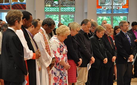 Dr Sarah Macneil (third from right) is commissioned by former Archbishop of Canterbury Rowan Williams as a member of the Standing Committee at the Anglican Consultative Council meeting in New Zealand in 2012. Photo: ACNS