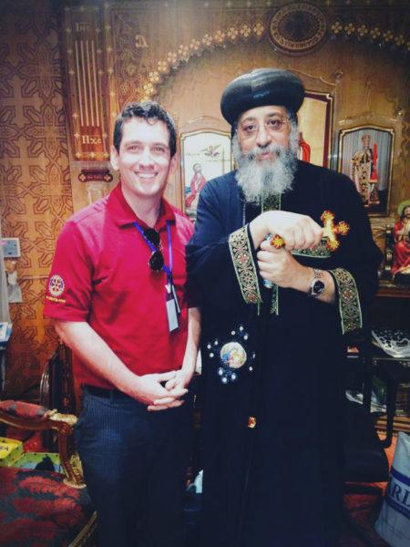 Gavin Rogers met Coptic Pope Tawadros II during his second visit to Egypt. Photo: Matthew Aragones