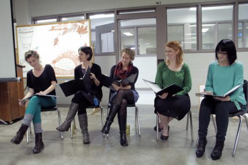 Actors Chelsye Ginn, Jonny Schremmer, Laura Shatkus, Whitney Masters and Jocelyn Morelli during the inside performance of Stories from the Inside Out. Photo: Lynette Wilson/ENS