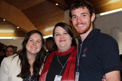 Ashley Cameron, a Young Adult Service Corps missionary serving in the Episcopal Diocese of Santiago in the Philippines, Elizabeth Boe, the Episcopal Church's global networking officer, and Ryan Abrams, a former YASC missionary who served in the Episcopal Diocese of Costa Rica during a May 2013 Global Episcopal Mission Network conference in Bogotá, Colombia. Photo: Lynette Wilson/Episcopal News Service