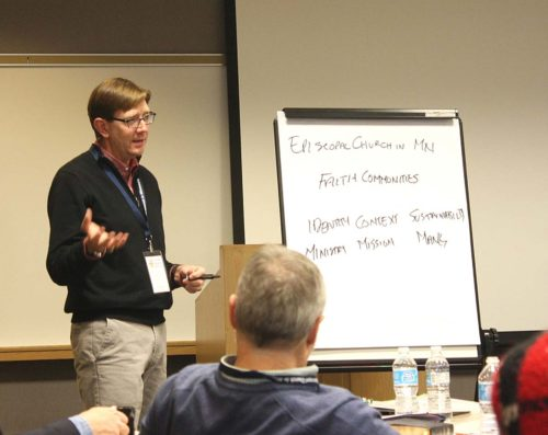 Minnesota Bishop Brian Prior explaining changes to make the Episcopal Church in Minnesota more 'missional.' Photo: Joe Bjordal/ENS