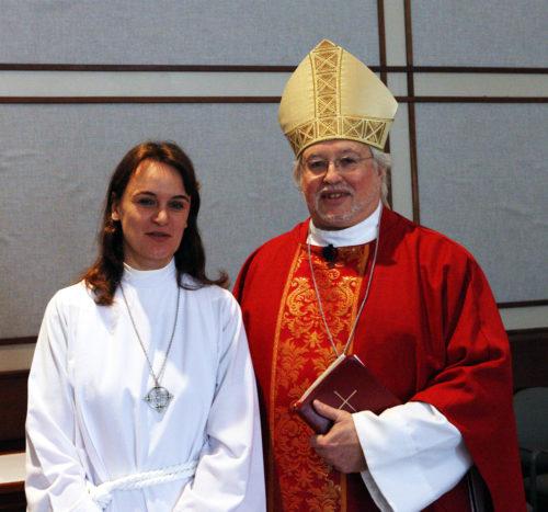 The Rev. Fammy Sohet Belanger with Bishop Pierre Whalon. Photo: Harvey Bale