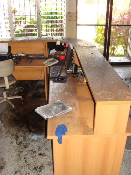 The fire started in the reception area, damaging computers and other office equipment.