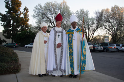The three successive San Joaquin bishops provisional (from left) Jerry Lamb, David Rice and Chet Talton outside St. Paul's, Modesto. Photo: Kelvin Yee