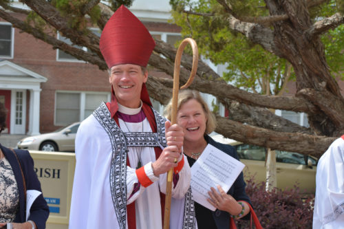 Bishop David Rice and wife Tracy greet well-wishers outside St. Paul's Church in Bakersfield after he was formally seated as bishop provisional of the Diocese of San Joaquin. Photo: Richard Schori