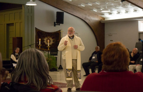Bishop Stacy Sauls, the Episcopal Church's chief operating officer, addresses the gathering about the importance of being a missionary. Photo: Lynn A. Collins