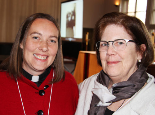 The Rev. Ellie Sanderson, keynote speaker, with Phoebe Griswold, chair of the Anglican Women at Prayer committee. Photo: Curtis Prather.