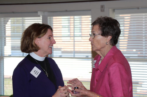 The Rt. Rev. Anne Hodges-Copple and Judy Wright Mathews remember Lex Mathews. Photo: Summerlee Walter.