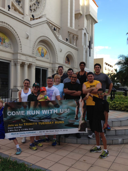 The 'Skinny Tuesdays' running group walks/runs about three miles weekly from Trinity Cathedral in Miami to Miami Beach and hopes to make Skinny Tuesdays a regular gathering. Photo courtesy of the Rev. Grey Maggiano