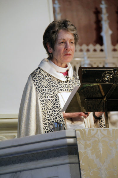 Presiding Bishop Katharine Jefferts SChori preached April 11 at St. Paul's Cathedral in Oklahoma City, Oklahoma, at the close of the three-day Reclaiming the Gospel of Peace conference. Photo: Lynette Wilson/ENS