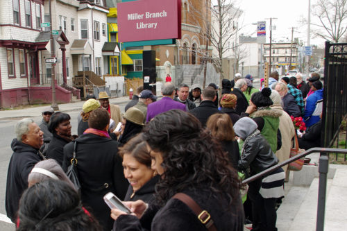 Worshipers gathering at the corner of Clinton St. and Bergen Ave. Photo: Nina Nicholson