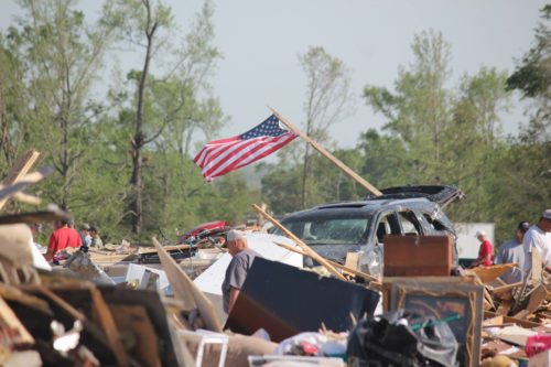 Arkansas National Guardsmen are responding to their neighbors in need after a tornado devastated communities in central Arkansas April 27. This photo from Vilonia was posted on the Guard's Facebook page. Photo: Arkansas National Guard