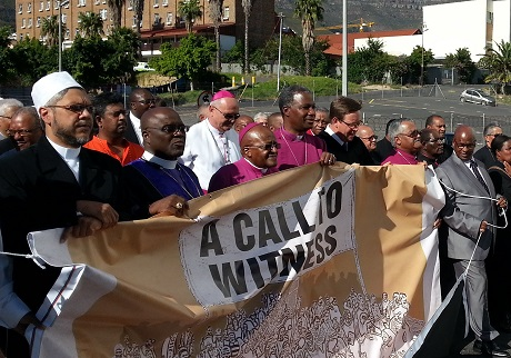 Archbishop Thabo Makgoba and Archbishop Emeritus Desmond Tutu join faith leaders for the procession of witness. Photo: Anglican Church of Southern Africa