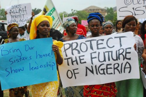 Protestors in Nigeria demand action on behalf of the more than 200 girls kidnapped from a government by Islamic militants who have said they should not have been in school and who now threaten to sell them into slavery. Photo: Facebook/Bring Back Our Girls