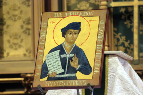 The new Frances Perkins icon, written by Iconographer Suzanne Schleck, is displayed May 13 on the altar at St. Andrew's Episcopal Church in Newcastle, Maine. Photo; Heidi Shott