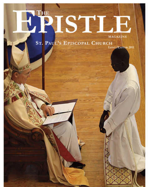 The cover of the St. Paul's Episcopal Church publication show the Rev. Thon Chol being ordained to the diaconate by Virginia Bishop Suffragan David Jones