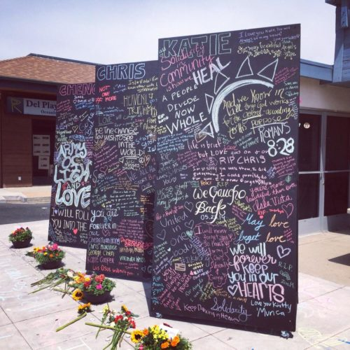 One of the many tributes to the murdered in Isla Vista, California. Photo: Nicole Janelle via Facebook